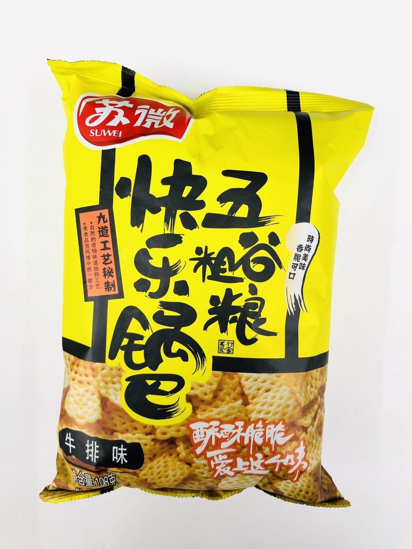 GROC【杂货】苏微快乐锅巴五谷粗粮牛排味~108g