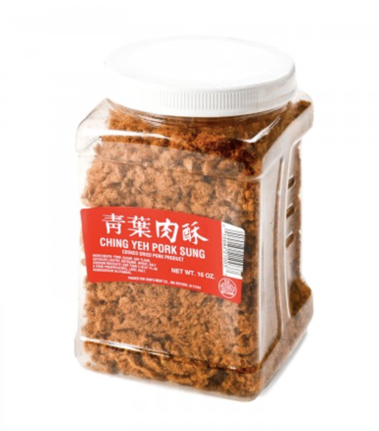 青叶肉酥大桶装 CHING YEH PORK SUNG COOKED DRIED PORK PRODUCT 16 oz