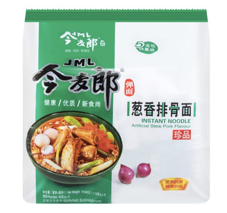 今麦郎 葱香排骨面 五连包 JML INSTANT NOODLE Artificial Stew Pork flavour 565g