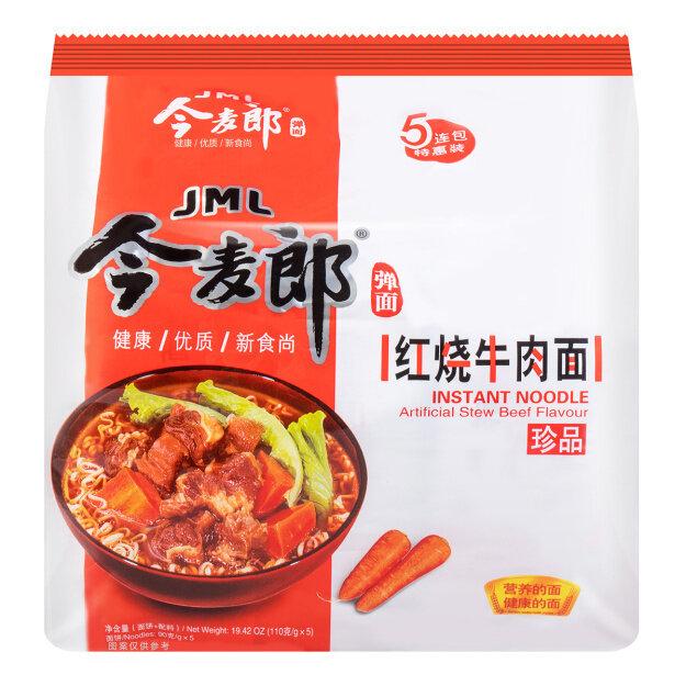 今麦郎  红烧牛肉面 五连包 JML INSTANT NOODLE Artificial Stew Beef Flavour 550g