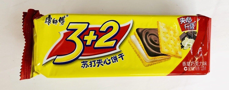 康师傅3+2苏打夹心饼干香草巧克力味 Vanilla chocolate flavor cookie~125g