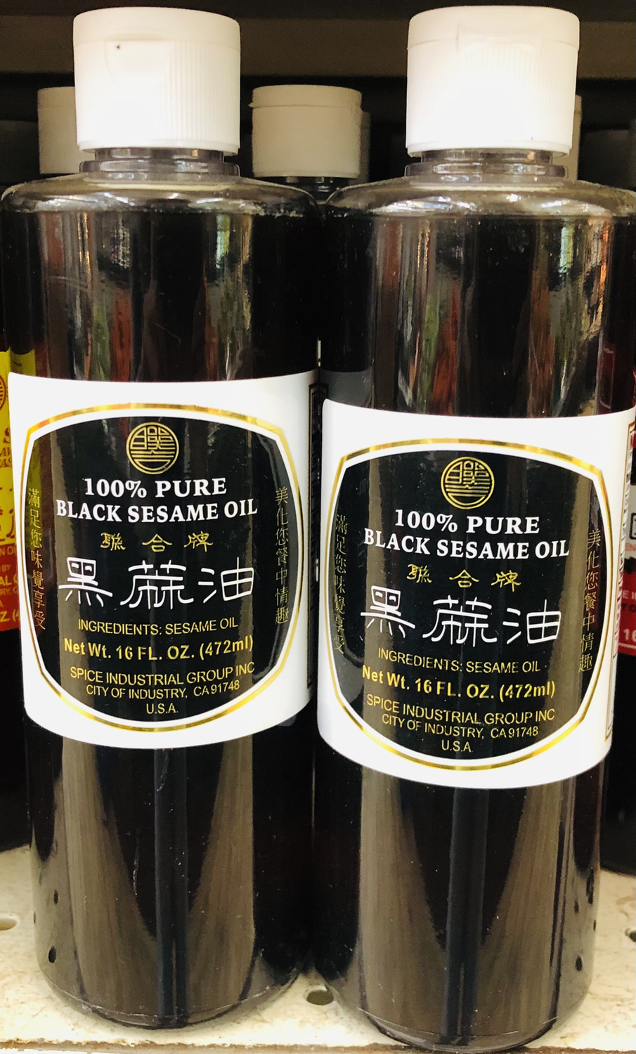 联合牌 黑麻油 LIAN HOW BRAND 100% PURE BLACK SESAME OIL 16 FL.OZ. (472ml)