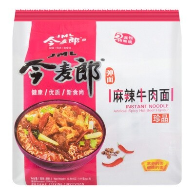 今麦郎 麻辣牛肉面 五连包 JML INSTANT NOODLE Artificial Spicy Hot Beef Flavour 600g