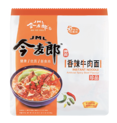 今麦郎 香辣牛肉面 五连包 JML INSTANT NOODLE Artificial Spicy Beef Flavour 585g