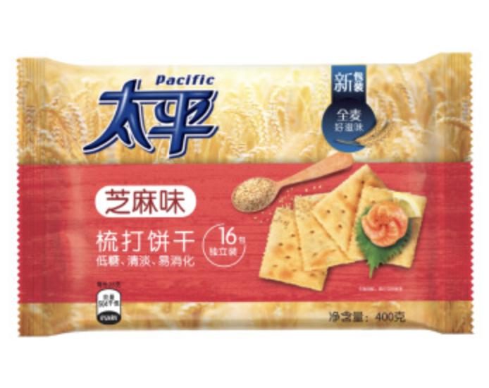 太平 苏打饼干 芝麻味 ~400g Pacific Wheat flour, edible vegetable oil, sesame seeds, salt 400g