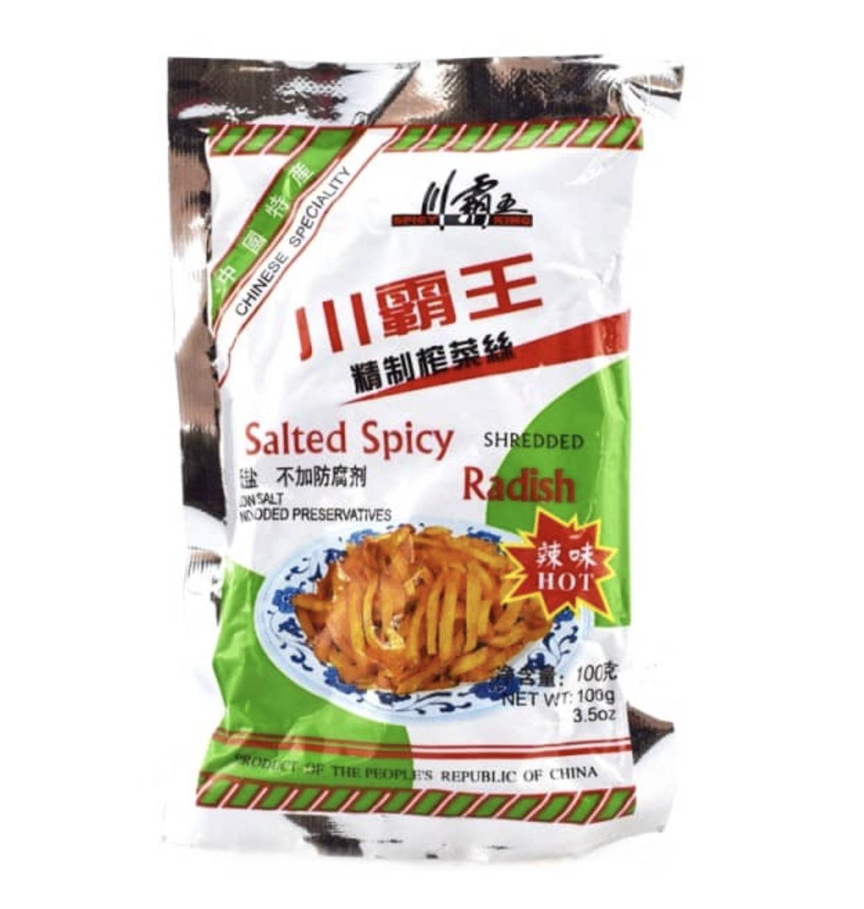 川霸王 精制榨菜丝 辣味 ~100g (3.5 oz) Salted spicy radish hot 100g (3.5 oz)