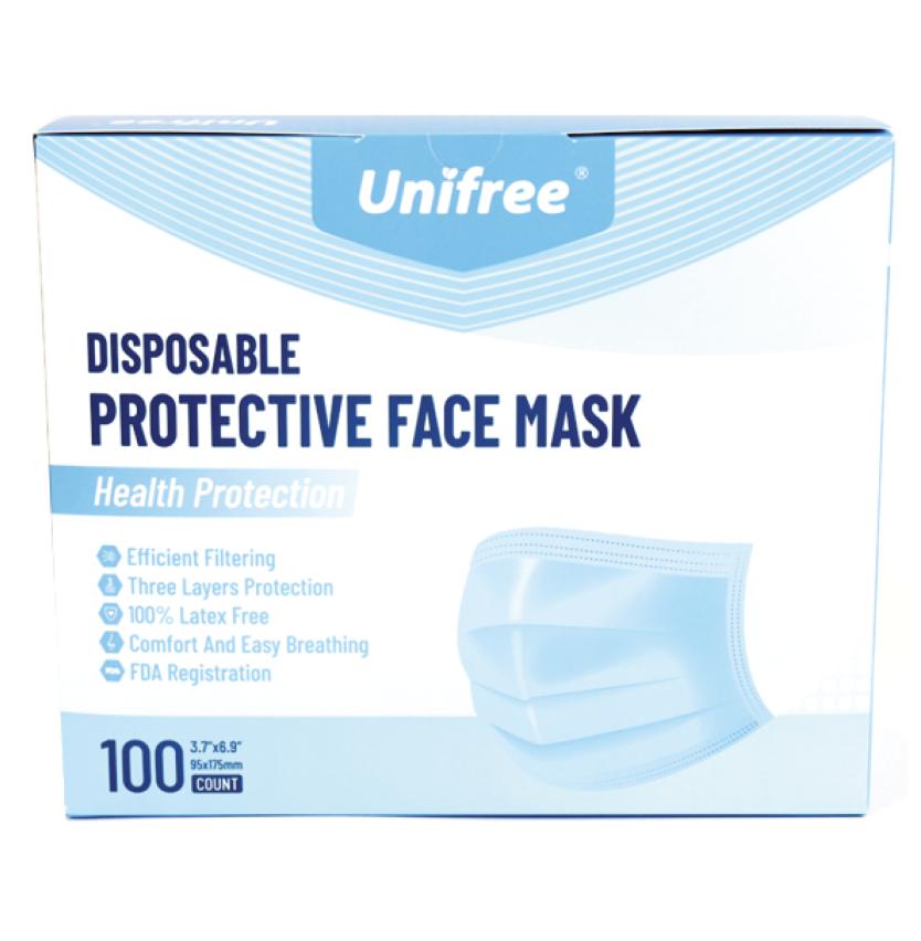 一次性防护口罩 高效过滤 三层防护 100个/盒(限购2盒) Unifree DISPOSABLE PROTECTIVE FACE MASK 100个/盒