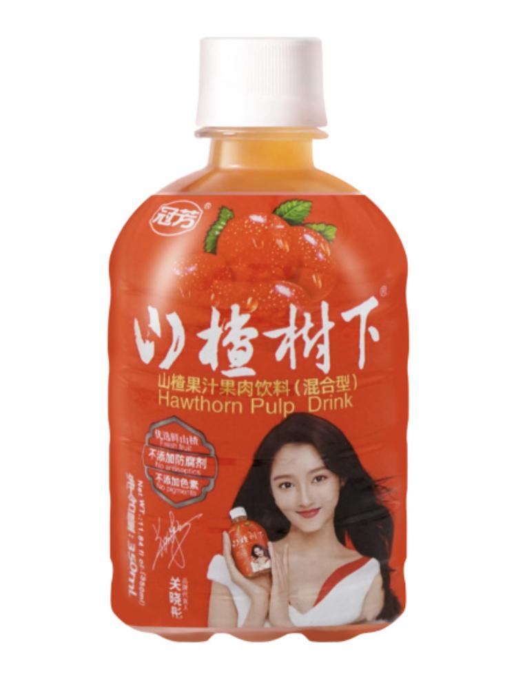 冠芳 山楂树下 山楂果汁果肉饮料(混合型)~350ml(11.84 fl oz) Hawthorn Pulp Drink ~350ml(11.84 fl oz)