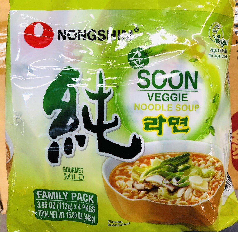 NohgShim蔬菜泡面  NohgShim Soon Veggie Noodle Soup 3.95oz(112g)x4pk