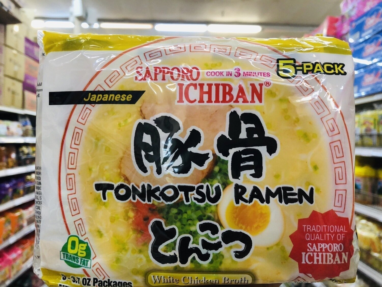 SAPPORO ICHIBAN豚骨拉面 TONKOTSU RAMEN White Chicken Broth~3.7oz x 5-PACK,18.5 oz
