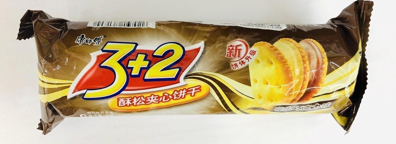 康师傅3+2酥松夹心饼干花生巧克力味 peanut chocolate flavor cookie~118g