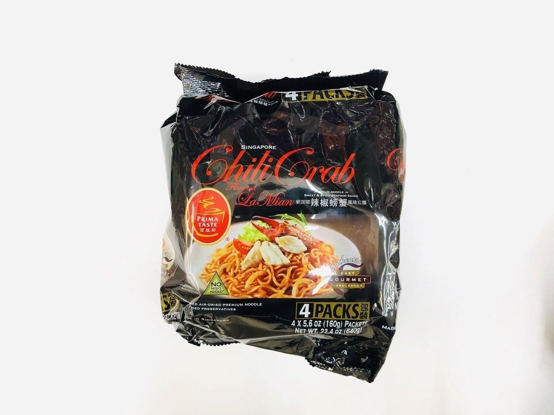 百胜厨新加坡辣椒螃蟹风味拉面 PRIMA TASTE Chili Grab PREMIUM NOOODLE IN SWEET&SPICY SEAFOOD SAUCE~4*5.6OZ(160g)