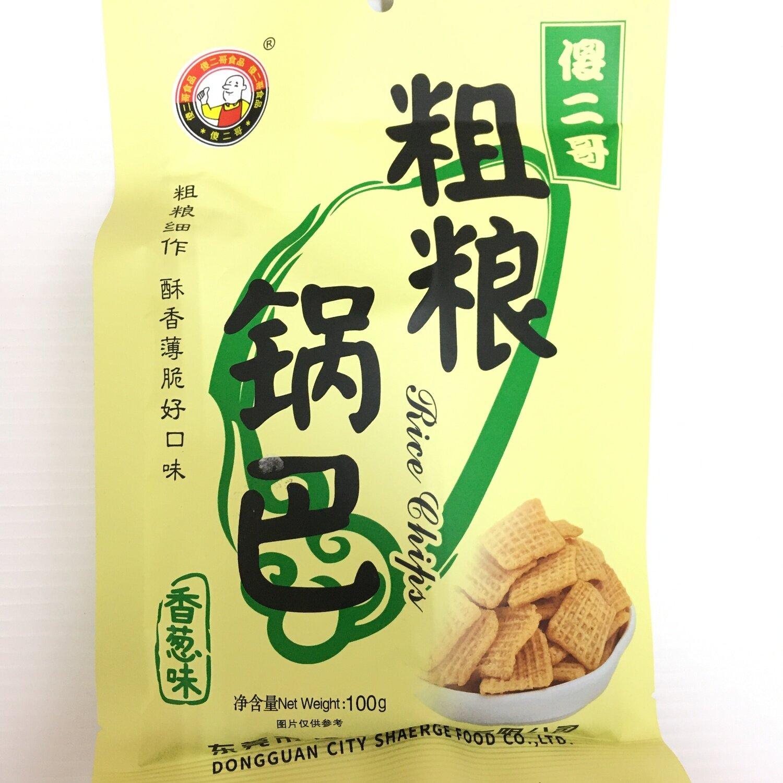 GROC【杂货】傻二哥 粗粮锅巴 香葱味 100g