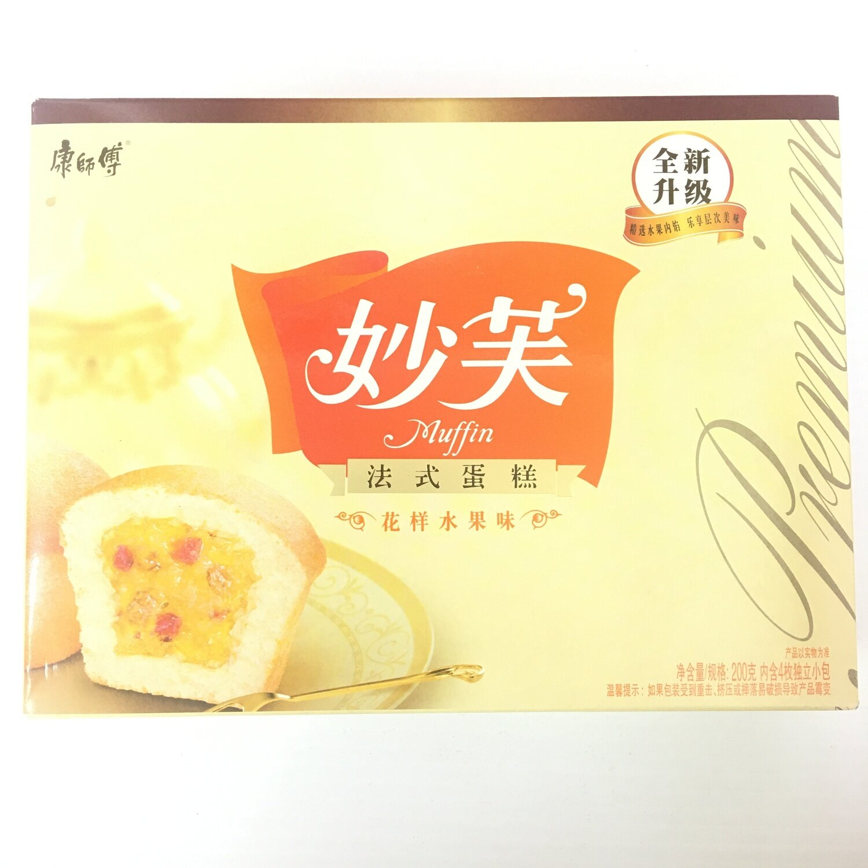 GROC【杂货】康师傅 妙芙 法式蛋糕 花样水果味 200g(4pcs)
