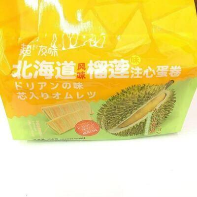 GROC【杂货】超友味 北海道风味榴莲味注心蛋卷 258g