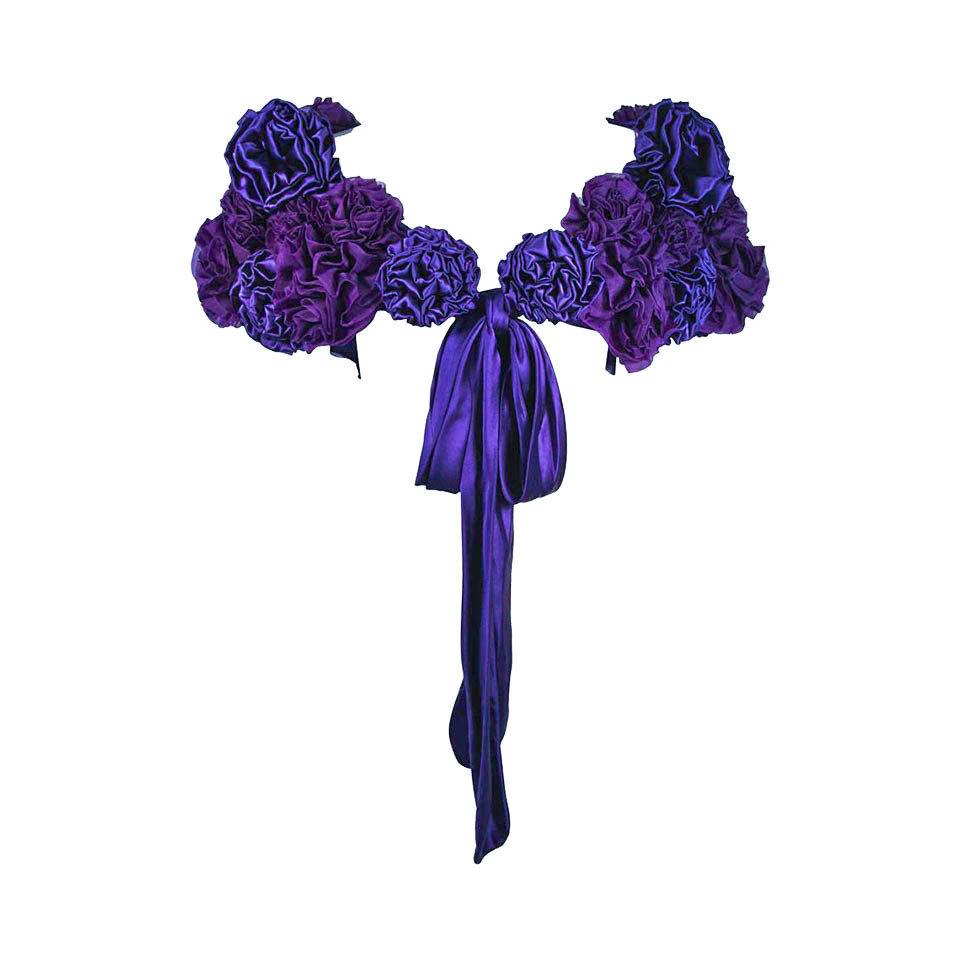 "ELIZABETH MASON COUTURE Made to Order Purple Silk ""Rose"" Wrap"