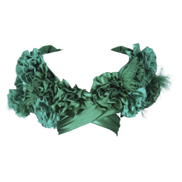 """ELIZABETH MASON COUTURE Made to Order Silk Green """"Rose"""" Wrap with Feathers"""