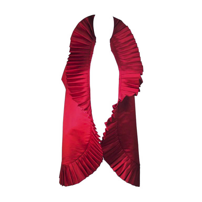 ELIZABETH MASON COUTURE PLEATS ME Dramatic Red Silk Wrap with Pleating