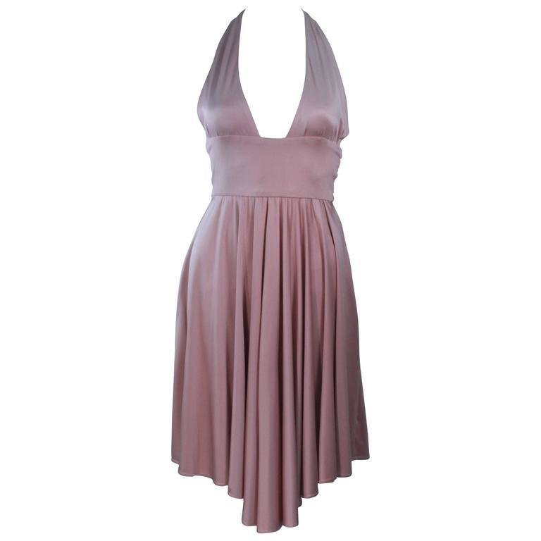 ELIZABETH MASON COUTURE Blush Silk Jersey Halter Cocktail Dress Made To Order