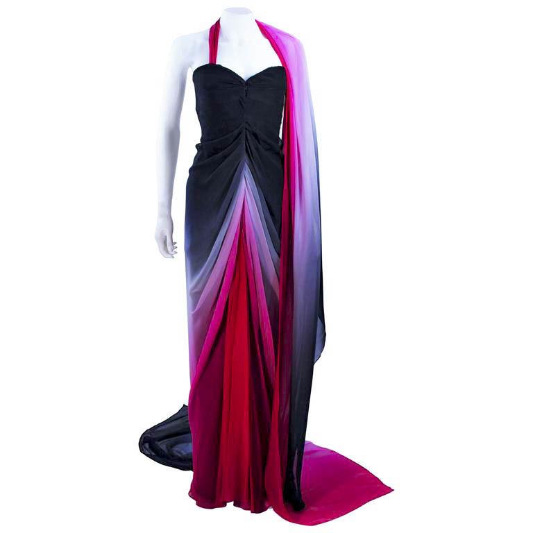 ELIZABETH MASON COUTURE 'Siren' Black to Pink Ombre Drape Gown