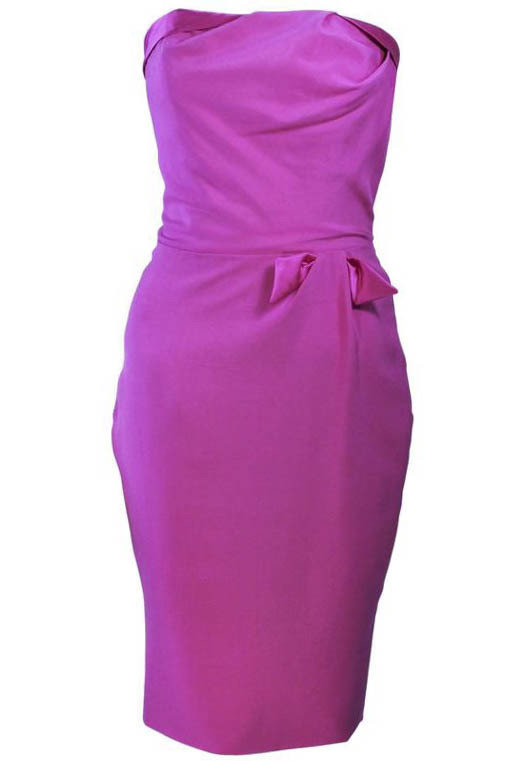ELIZABETH MASON COUTURE Magenta Silk Cocktail Dress