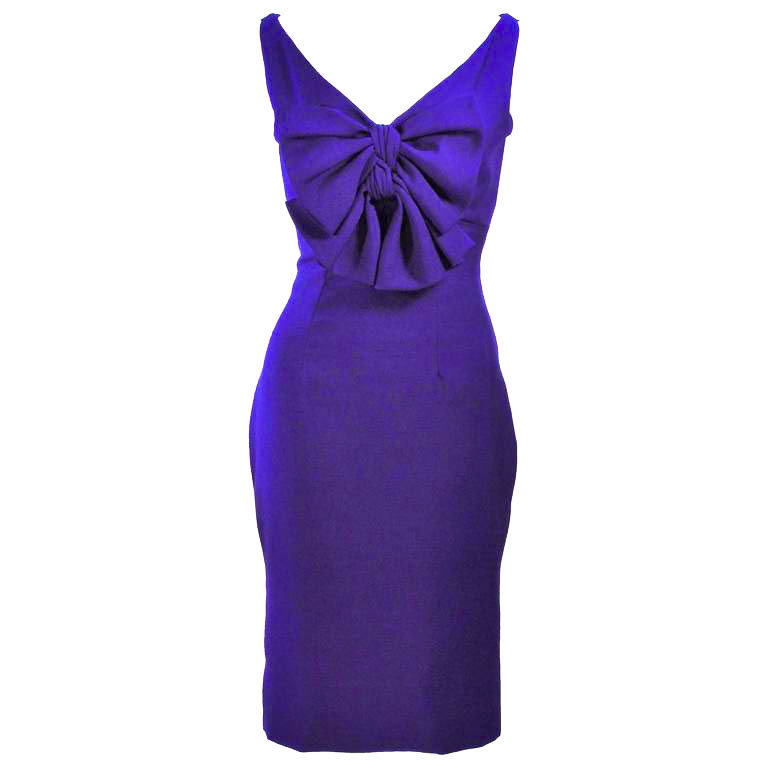 ELIZABETH MASON COUTURE Purple Silk Cocktail Dress with Bow Made to Order