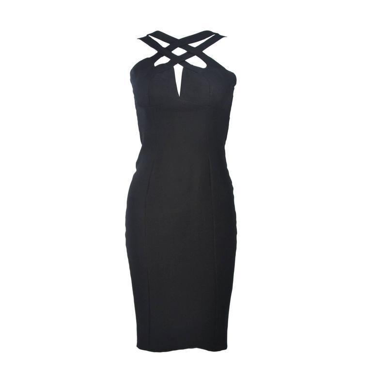 ELIZABETH MASON COUTURE Silk Criss Cross Cocktail Dress