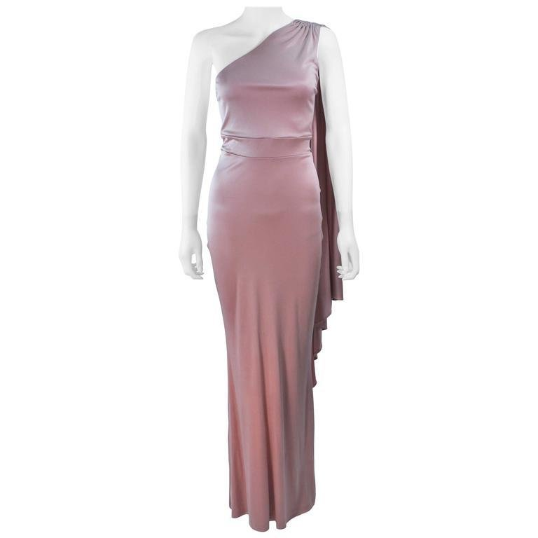 ELIZABETH MASON COUTURE Deep Blush One Shoulder Draped Gown