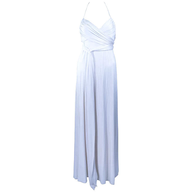 ELIZABETH MASON COUTURE White Silk Jersey Draped Gown Made To Order