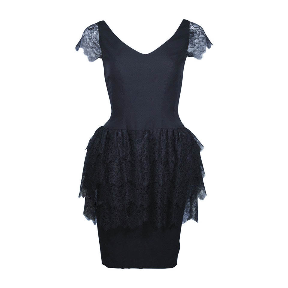 ELIZABETH MASON COUTURE Fitted Silk & Lace Cocktail Dress