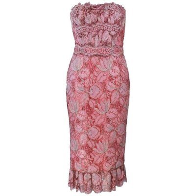 ELIZABETH MASON COUTURE Pink Metallic Lace Cocktail Dress