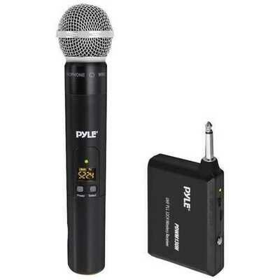 Pyle PDWM13UH UHF Wireless Microphone System with Handheld Microphone, Wireless Transmitter and Universal Plug-and-Play Audio