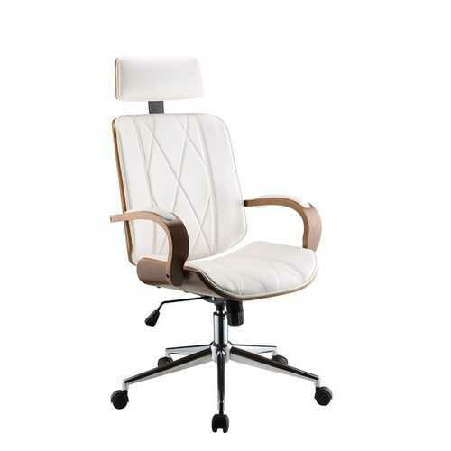 "24"" X 26"" X 46-49"" White Leatherette And Walnut Office Chair"