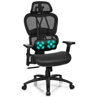 Mesh Office Chair Recliner Adjustable Headrest Massage