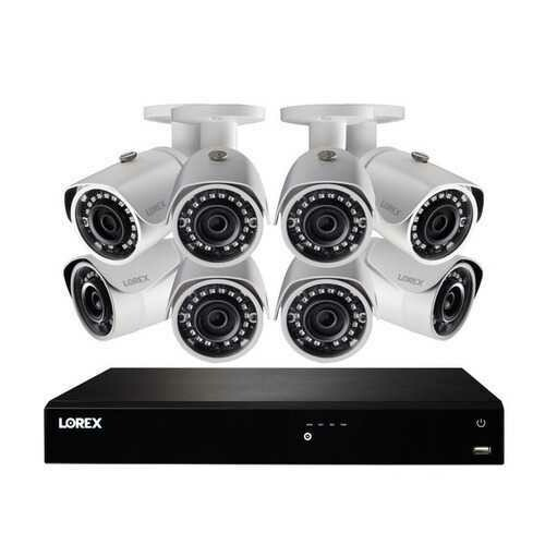 Lorex NK163-85CB 4K Ultra HD 16-Channel Security System with 3 TB NVR and Eight Super HD Bullet Security Cameras with Color Night Vision and Smart Home Control