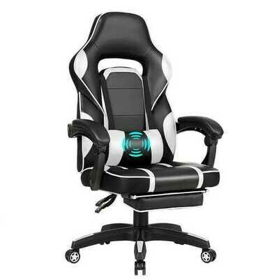 Massage Gaming Chair with Footrest & Lumbar Support-White