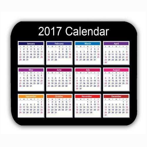 Calendar 2017 Mouse Mat Black Anti-Slip Computer PC Desktop Gaming Mouse Pad
