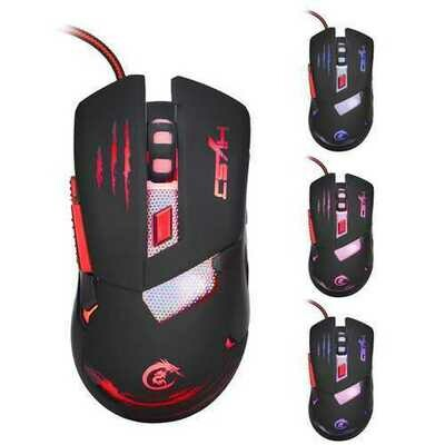 HXSJ H400 3200 DPI 6 Button USB Wired LED Variable Light Gaming Mouse