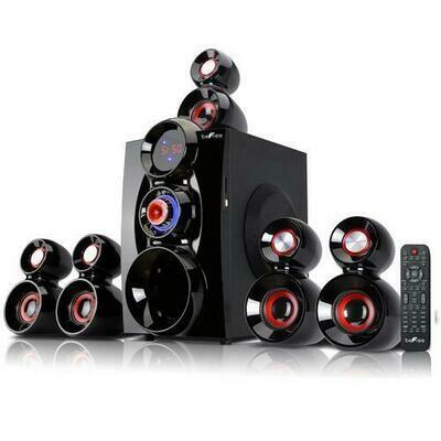 beFree Sound 5.1 Channel Bluetooth Surround Sound Speaker System- Red