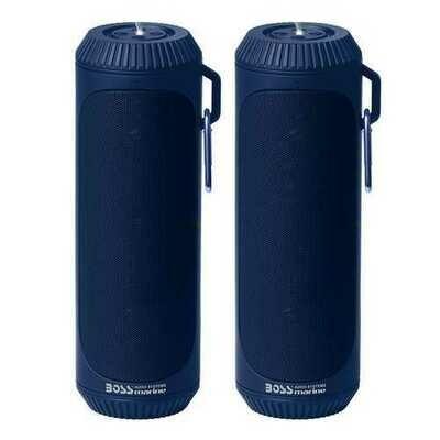 Boss Audio Bolt Marine Bluetooth® Portable Speaker System with Flashlight - Pair - Blue