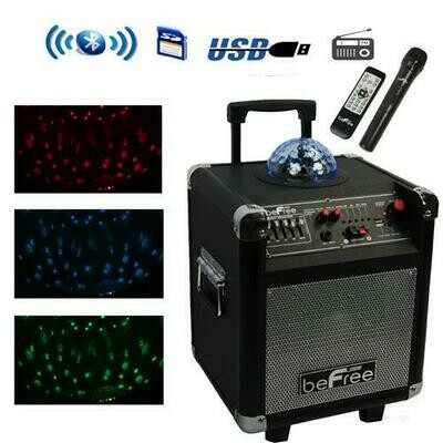 beFree Sound Projection Party Light  Dome 6.5 Inch Subwoofer Bluetooth Portable Party Speaker with USB/ SD Input, FM Radio, Remote Control and  Microphone