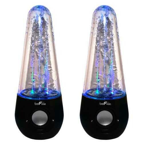 beFree Sound Bluetooth LED Dancing Water Multimedia Speakers in Black