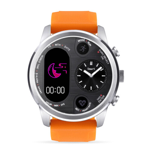 Bakeey T3 Dual Time Zone Heart Rate Multi-language Reject Button Analog Charging Dock Smart Watch