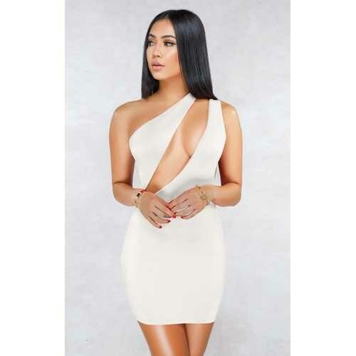 White Sexy One Shoulder Hollow-out Bodycon Dress