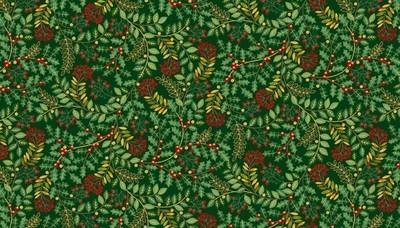Makower Deck the Halls - Leaf Swirl Green