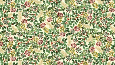Makower Deck the Halls - Leaf Swirl Cream