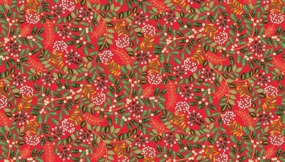 Makower Deck the Halls - Leaf Swirl Red