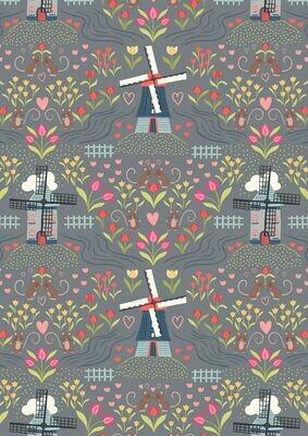 Lewis & Irene Tulip Fields - Windmills on Light Slate
