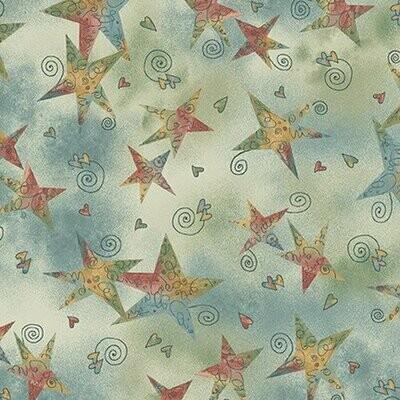 Henry Glass Irish Blessing - Swirly Stars on Light Teal