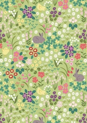 Lewis & Irene Bunny Hop - Bunny & Chick Floral on Spring Green